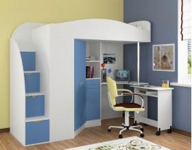 кровать чердак Теремок-1 Гранд цвет белый / голубой