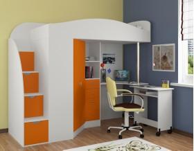 кровать чердак Теремок-1 Гранд цвет белый / оранжевый