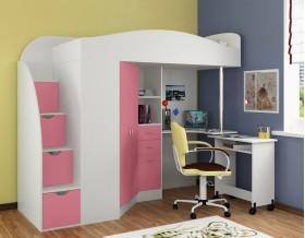 кровать чердак Теремок-1 Гранд цвет белый / розовый