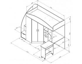 кровать чердак Теремок-1 Гранд размеры