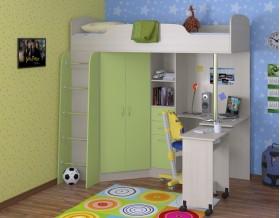 кровать чердак Теремок-1 цвет дуб молочный / салатовый, стол выдвинут