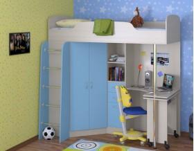 кровать чердак Теремок-1 цвет дуб молочный / голубой