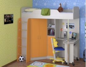 кровать чердак Теремок-1 цвет дуб молочный / оранжевый