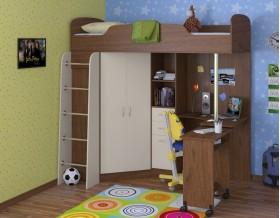 кровать чердак Теремок-1 цвет орех / крем, стол выдвинут