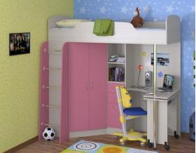 кровать чердак Теремок-1 цвет дуб молочный / розовый