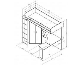 кровать чердак Теремок М-85 размеры