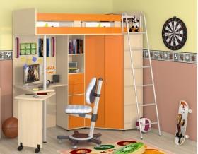 кровать чердак Теремок М-85 цвет дуб молочный / оранжевый
