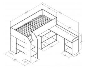 кровать чердак Теремок-2 размеры