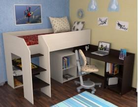кровать чердак Теремок-2 цвет дуб молочный / венге, лестница слева