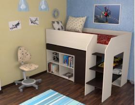 кровать чердак Теремок-2 цвет дуб молочный / венге, лестница справа