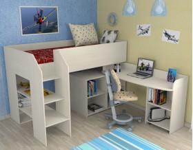 кровать чердак Теремок-2 цвет дуб молочный, лестница слева