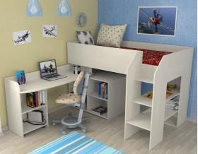 кровать чердак Теремок-2 цвет дуб молочный, лестница справа