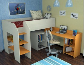 кровать чердак Теремок-2 цвет дуб молочный / оранжевый, лестница слева