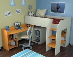 кровать чердак Теремок-2 цвет дуб молочный / оранжевый, лестница справа