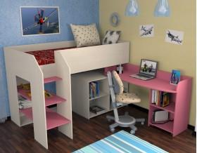 кровать чердак Теремок-2 цвет дуб молочный / розовый, лестница слева