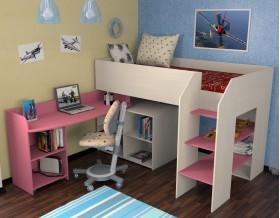 кровать чердак Теремок-2 цвет дуб молочный / розовый, лестница справа