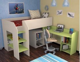 кровать чердак Теремок-2 цвет дуб молочный / салатовый, лестница слева