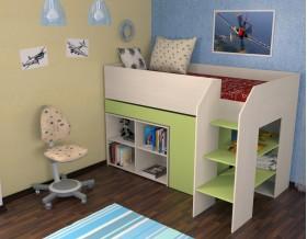 кровать чердак Теремок-2 цвет дуб молочный / салатовый, лестница справа