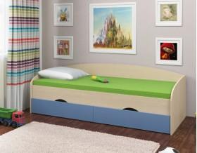 кровать Соня-2 дуб молочный / голубой