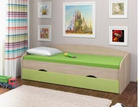 кровать Соня-2 дуб Сонома / салатовый