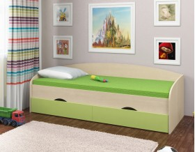 кровать Соня-2 дуб молочный / салатовый