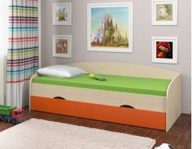 кровать Соня-2 дуб молочный / оранжевый