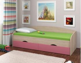 кровать Соня-2 дуб Сонома / розовый
