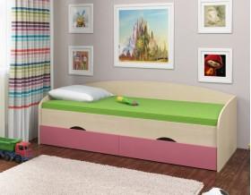 кровать Соня-2 дуб молочный / розовый