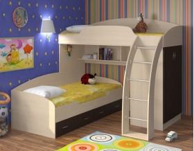 двухъярусная кровать Соня 1+2 дуб молочный / венге