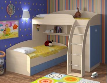 двухъярусная кровать Соня 1+2 дуб молочный / голубой