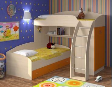 двухъярусная кровать Соня 1+2 дуб молочный / оранжевый