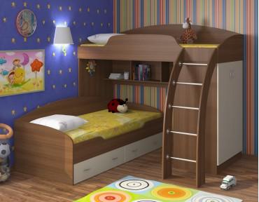 двухъярусная кровать Соня 1+2 орех / крем