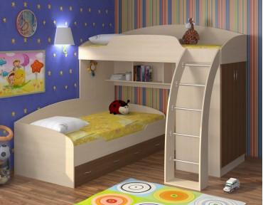 двухъярусная кровать Соня 1+2 дуб молочный / орех
