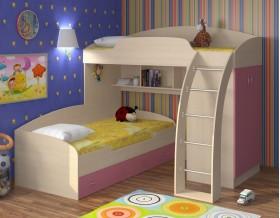 двухъярусная кровать Соня 1+2 дуб молочный / розовый