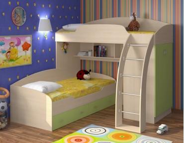 двухъярусная кровать Соня 1+2 дуб молочный / салатовый