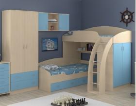 двухъярусная кровать Соня 1+2+3 дуб молочный / голубой