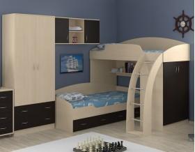 двухъярусная кровать Соня 1+2+3 дуб молочный / венге
