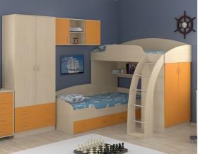 двухъярусная кровать Соня 1+2+3 дуб молочный / оранжевый