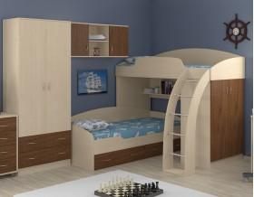 двухъярусная кровать Соня 1+2+3 дуб молочный / орех