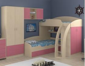 двухъярусная кровать Соня 1+2+3 дуб молочный / розовый