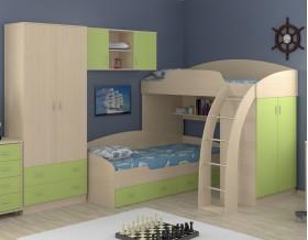 двухъярусная кровать Соня 1+2+3 дуб молочный / салатовый