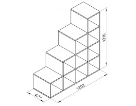 размеры Дельта-18.06 лестница-стеллаж