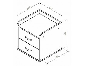 размеры Дельта-24 тумба с двумя ящиками