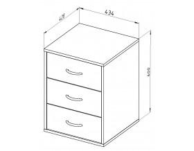 размеры Дельта-24.2 тумба с тремя ящиками