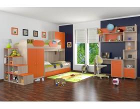 детская Дельта комплект №1 цвет дуб Сонома / оранжевый