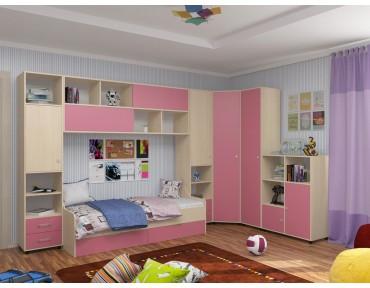 детская Дельта комплект №2 цвет дуб молочный / розовый