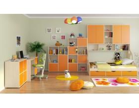 детская Дельта комплект №3 цвет дуб молочный / оранжевый