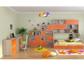 детская Дельта комплект №3 цвет дуб Сонома / оранжевый