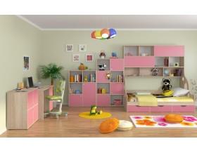 детская Дельта комплект №3 цвет дуб Сонома / розовый