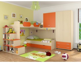 детская Дельта комплект №6 цвет дуб молочный / оранжевый